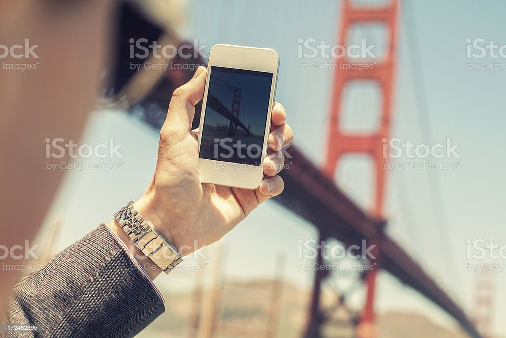 Capturing Golden Gate Bridge with a Smartphone royalty-free stock photo