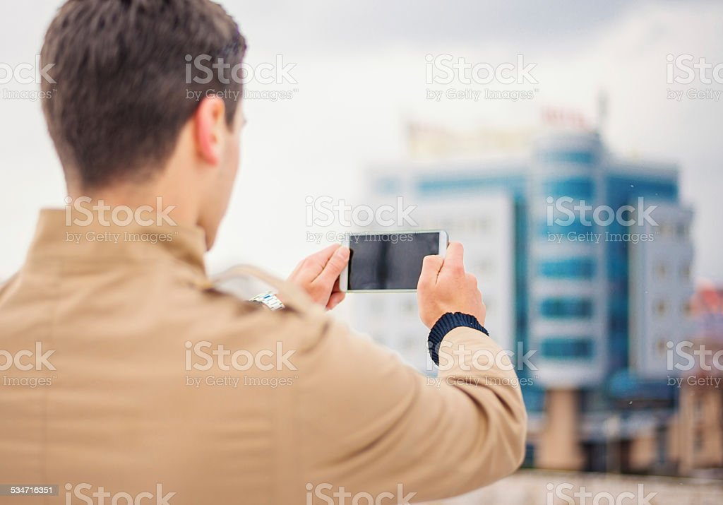 Capturing with a smartphone stock photo
