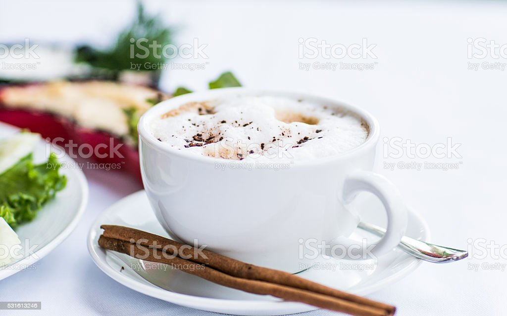 Capuccino coffee in restraunt stock photo