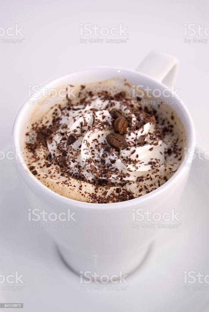 Capuccino in white mug royalty-free stock photo