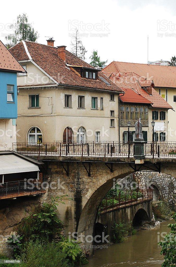 Capuchin's Bridge in Skofja Loka stock photo