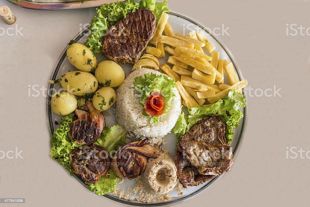 Capybara steak ,Brazilian food stock photo