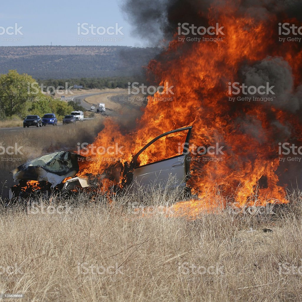 Car Accident and Fire stock photo