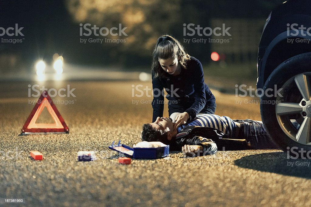 Car accident - first aid stock photo