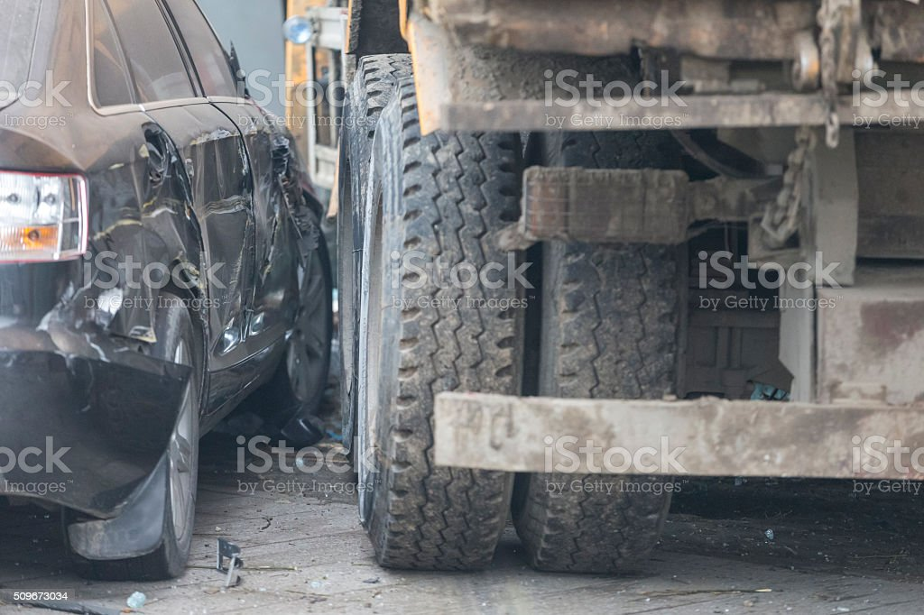 Car accident in Beijing stock photo