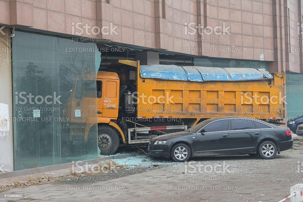 Car accident in Beijing stock photo