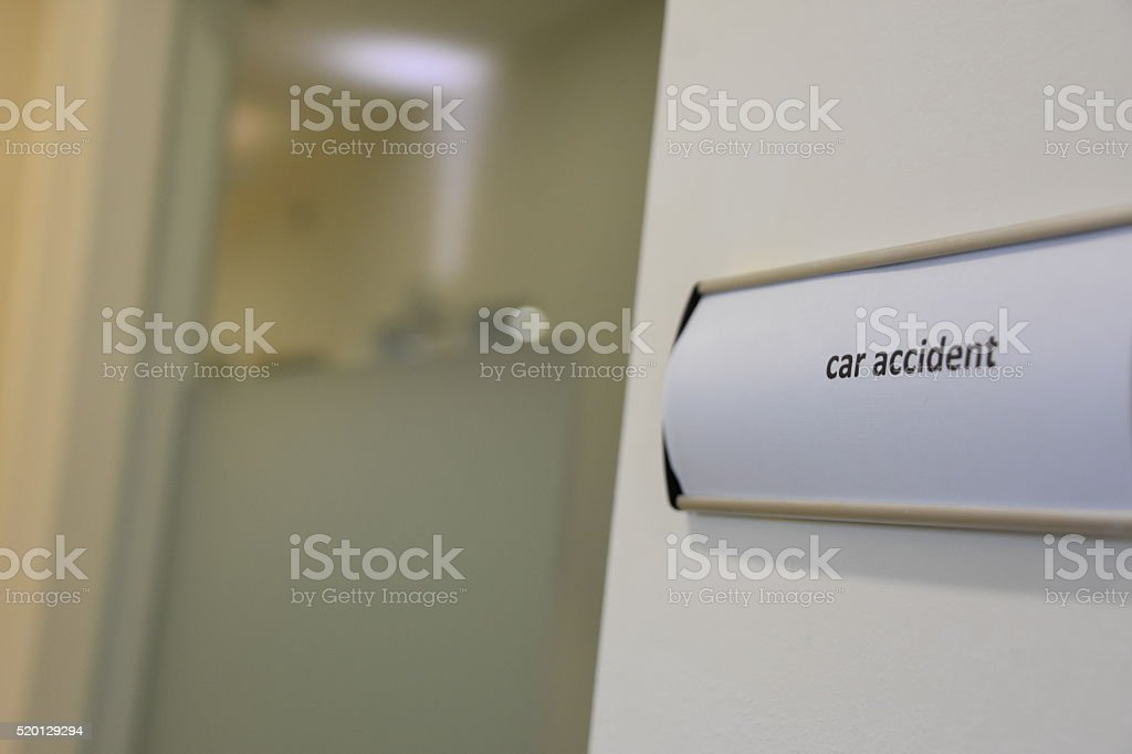 car accident office  sign stock photo