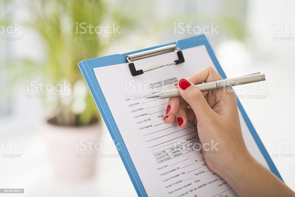Car accident questionnaire stock photo