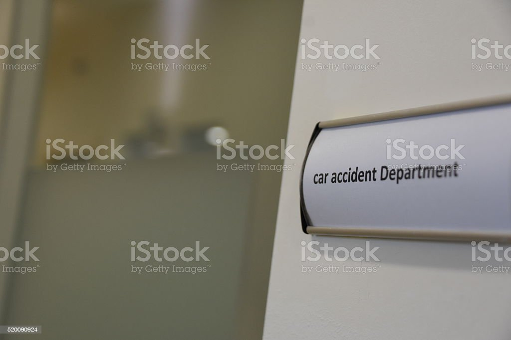 car accident sign stock photo