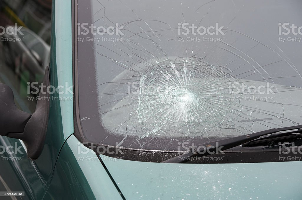 car accident smashed broken windscreen stock photo