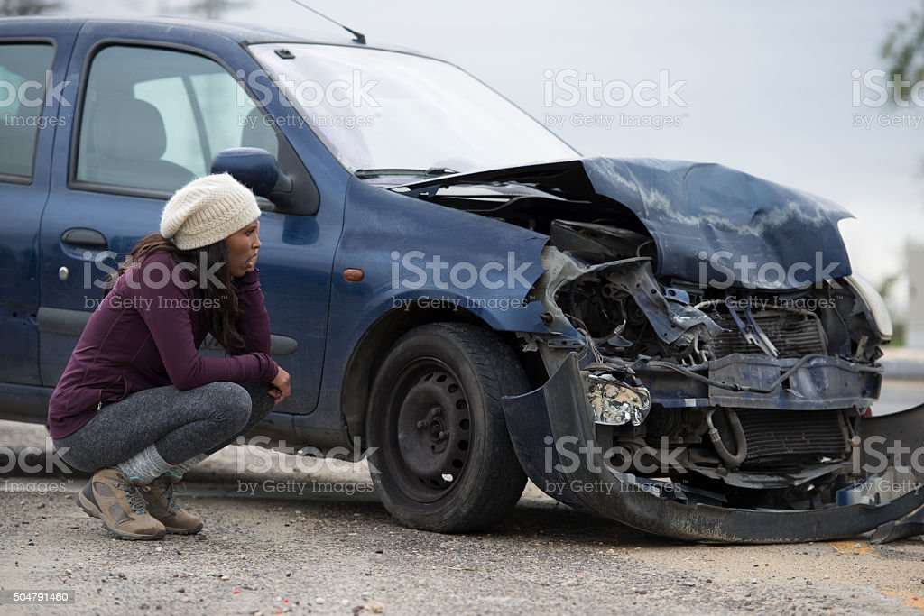 Car accident with frontal impact. stock photo