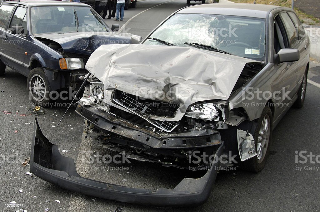 A car accident with major front end damage royalty-free stock photo
