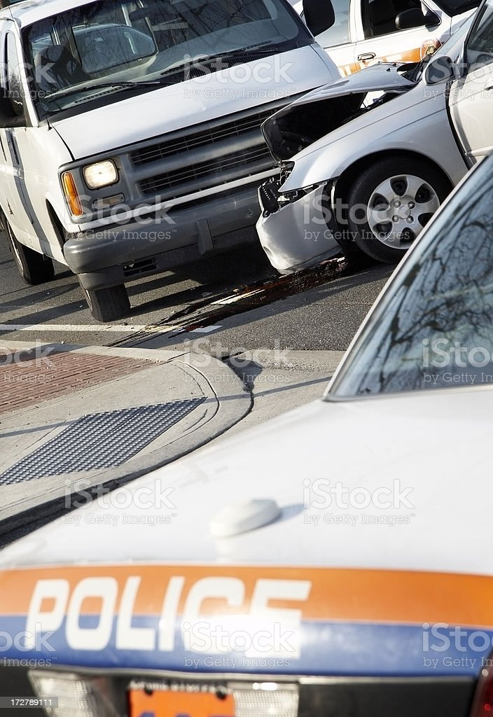 Car accident with police on the scene royalty-free stock photo