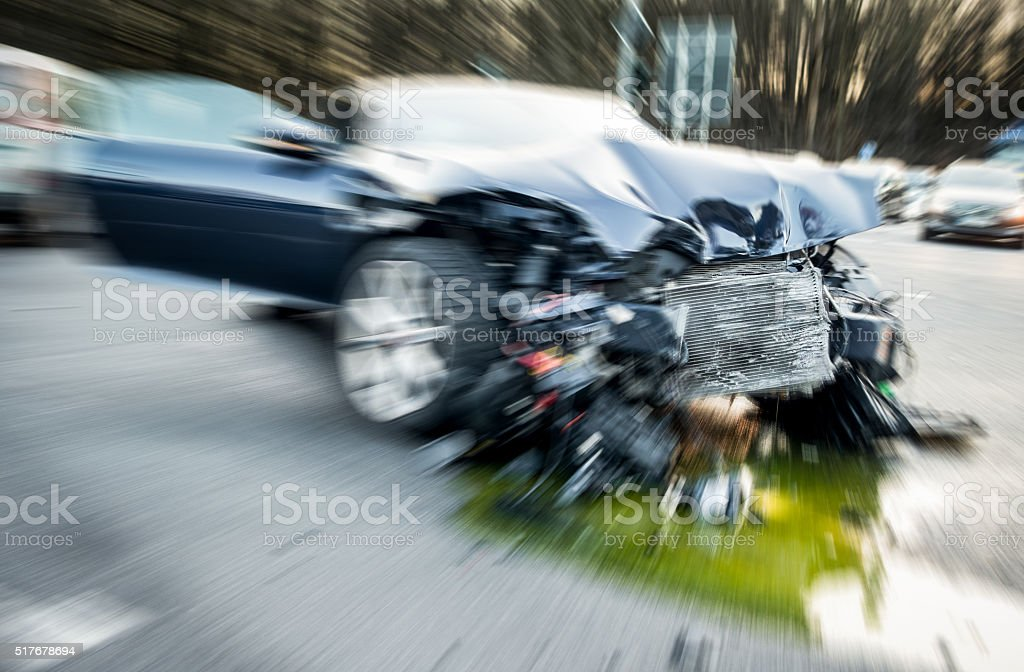 car after accident close up stock photo