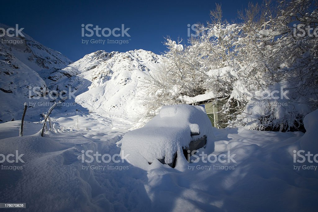 Car after snowing royalty-free stock photo
