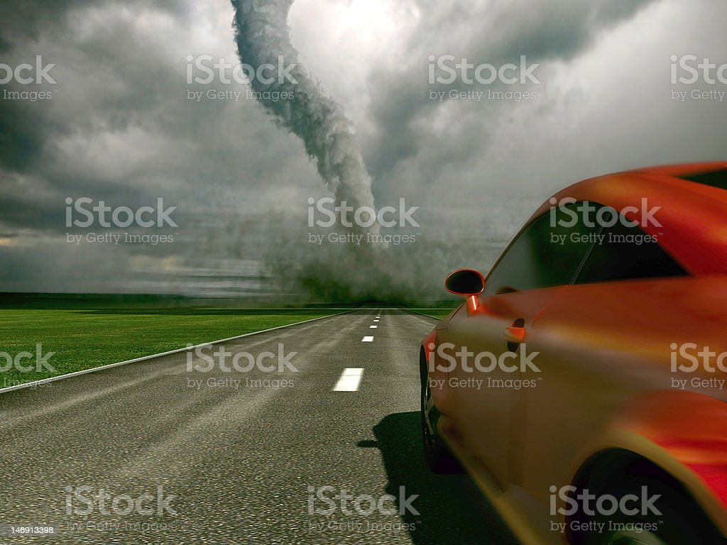 car against tornado royalty-free stock photo