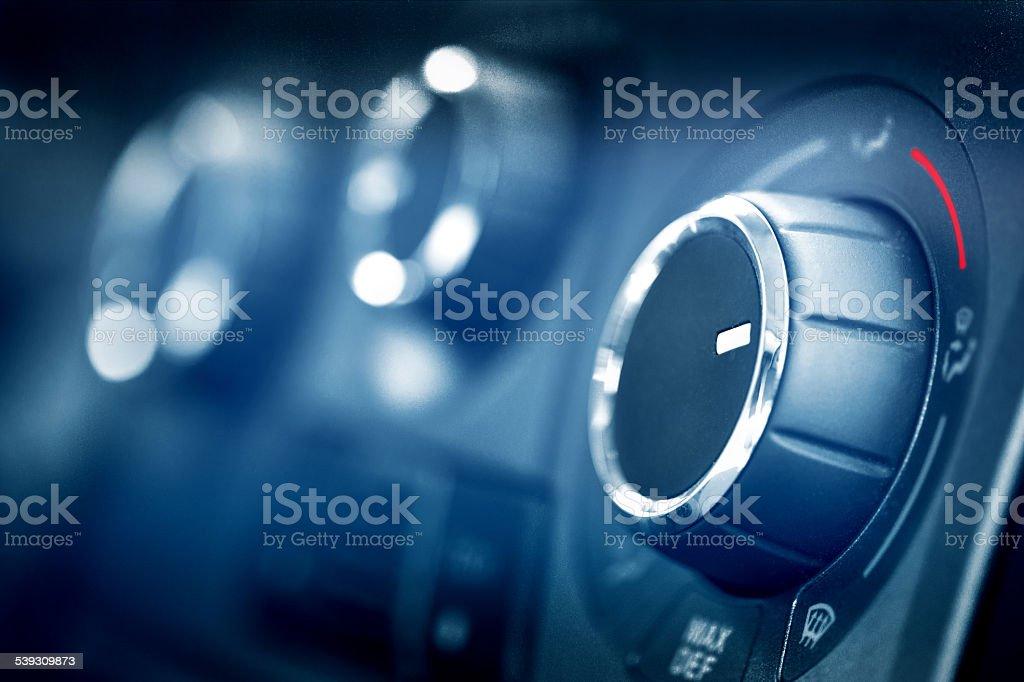 Car air conditioning knob macro stock photo