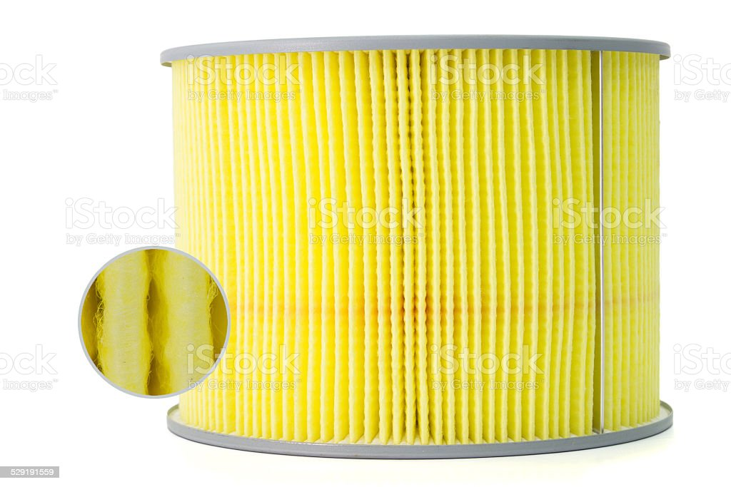 car air filter in a metal crate stock photo