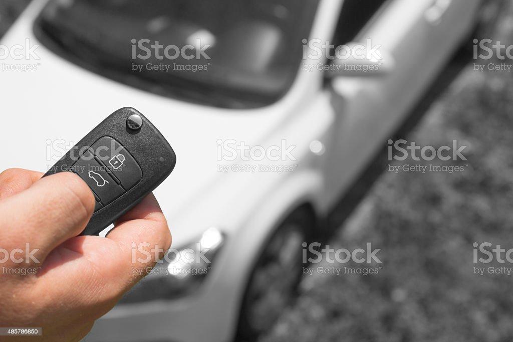 Car alarm, maintain your car security on the level. stock photo