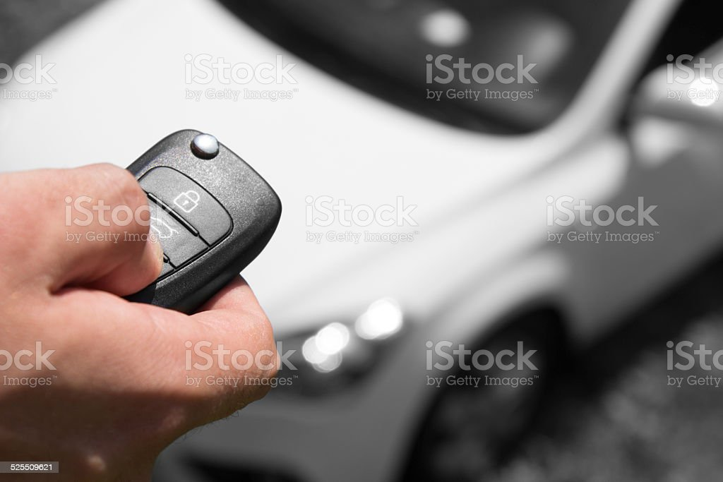 Car alarm, maintain your car security on the level. stock photo