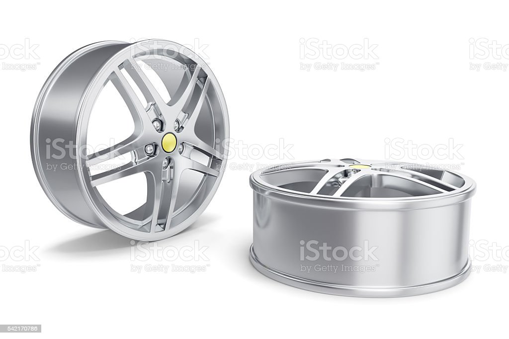 Car Alloy Rim isolated on white background. 3d illustration stock photo