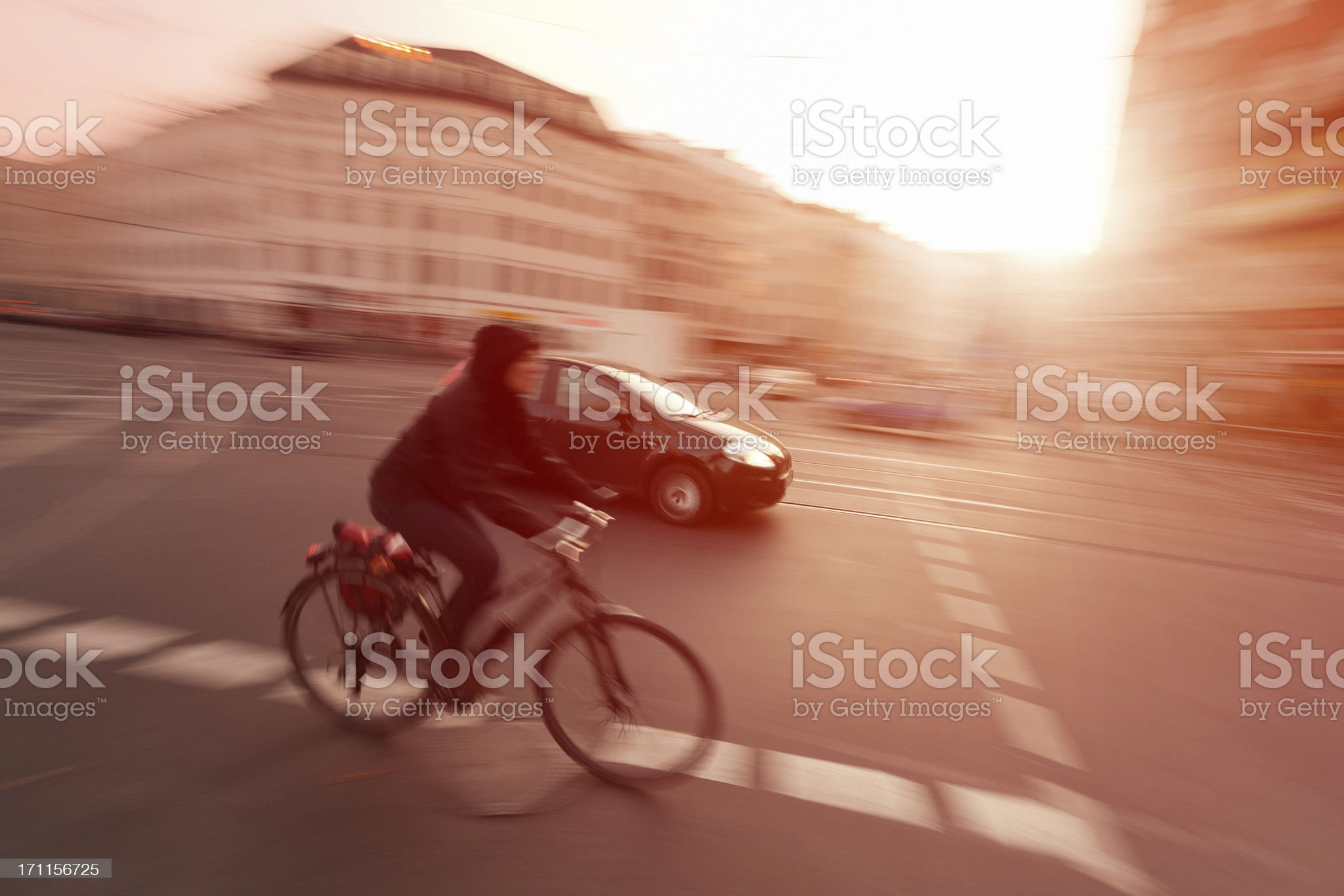Car and Bicycle in Motion, Berlin, Panning royalty-free stock photo