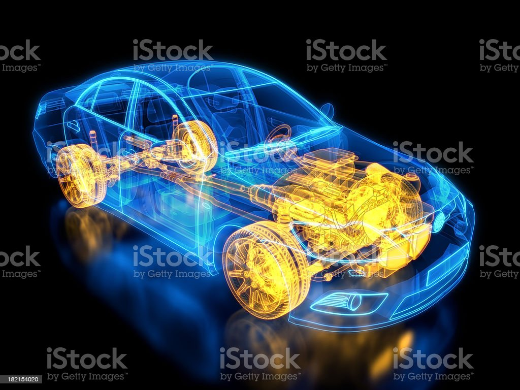 Car and chassis X-ray / Blueprint stock photo