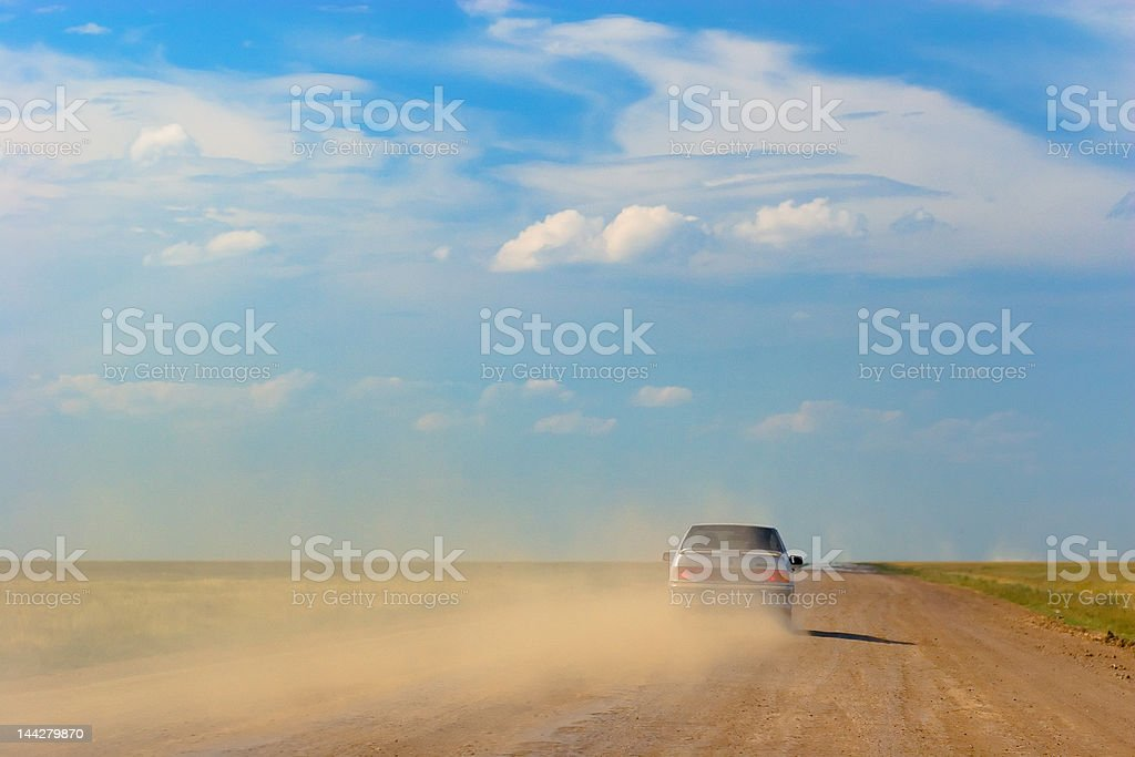 Car and clouds stock photo