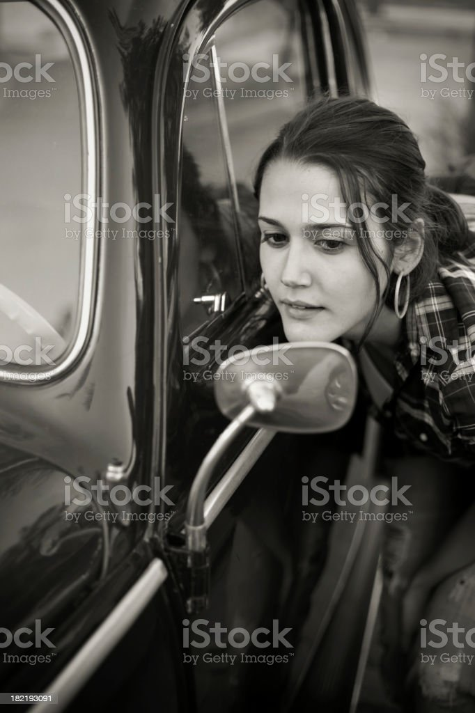 Car and female stock photo