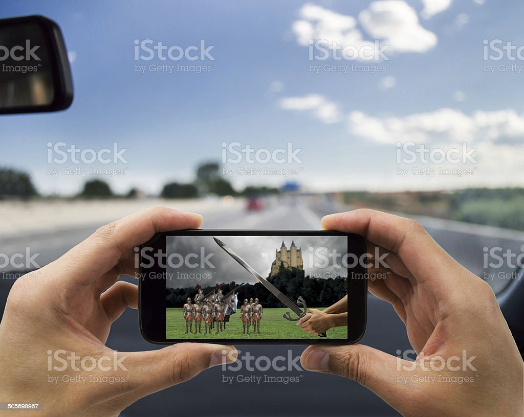car and  medieval film stock photo