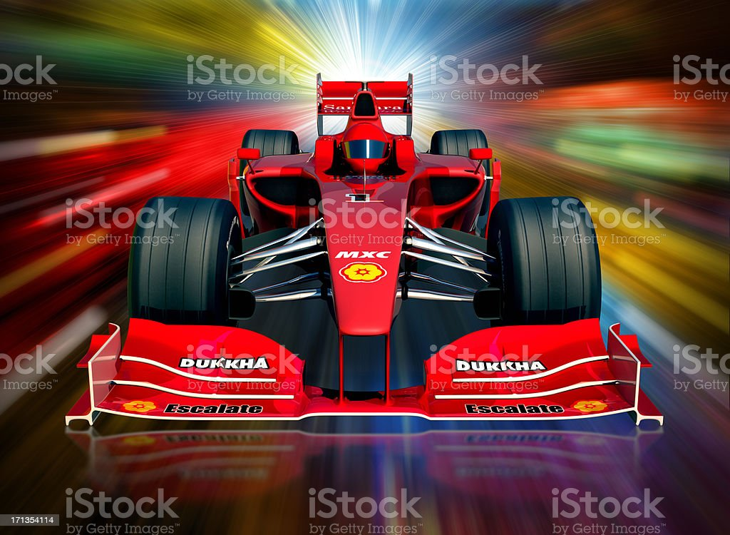 F1 car and neon lights, clipping path included stock photo