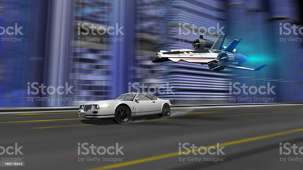 car and spaceship racing scene stock photo