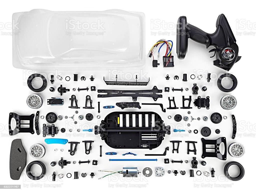 RC car assembly kit stock photo