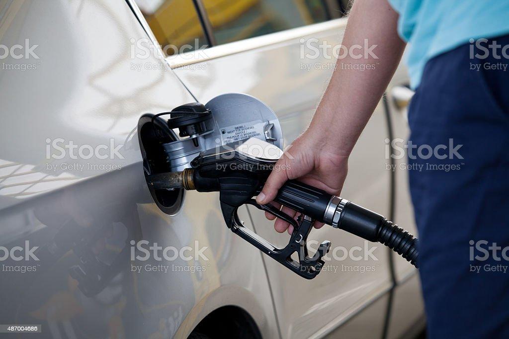 Car at gas station stock photo