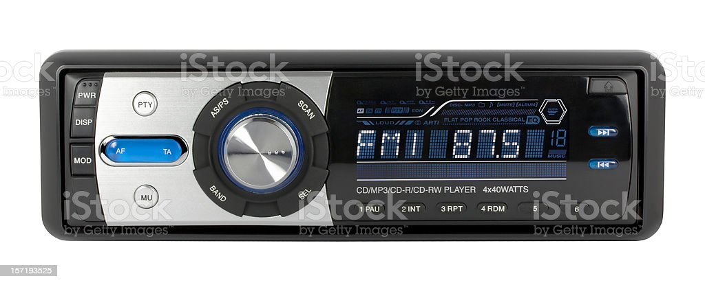 Car audio CD-MP3-WMA receiver (clipping path), isolated on white background royalty-free stock photo