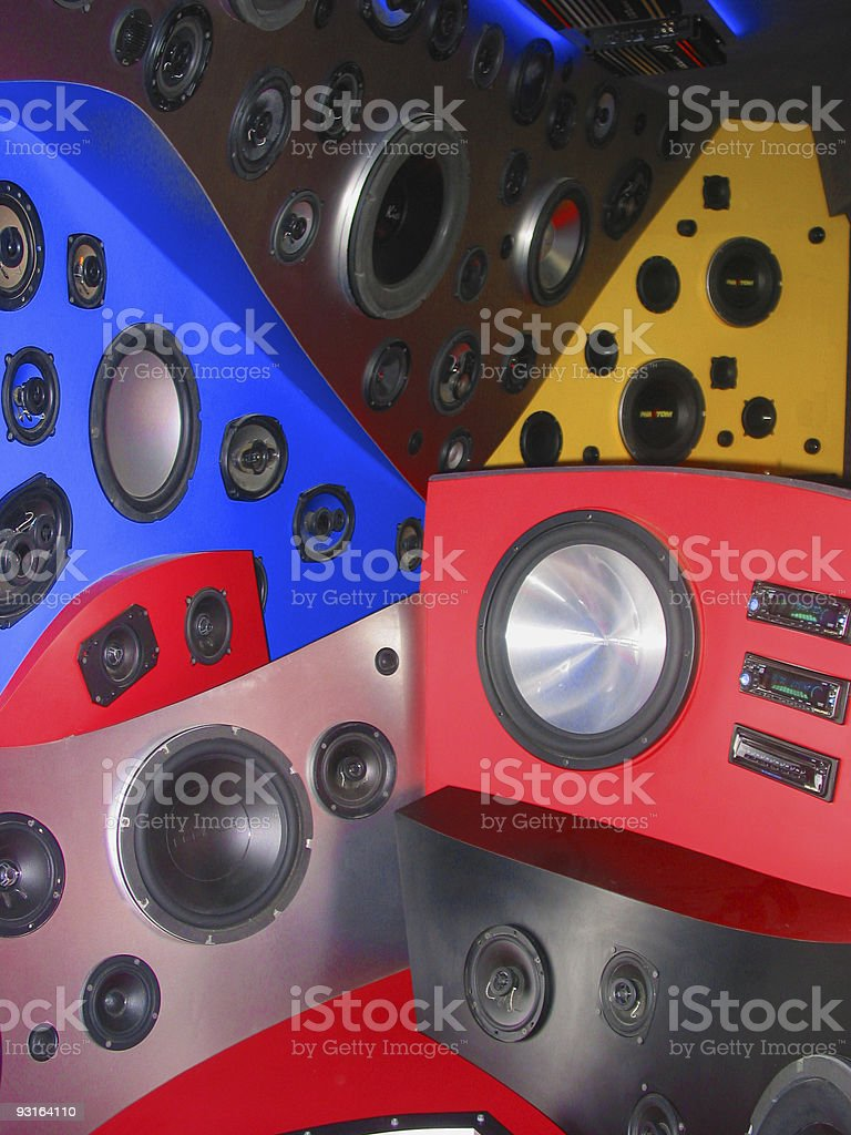 car audio show - woofers, speakers, players royalty-free stock photo