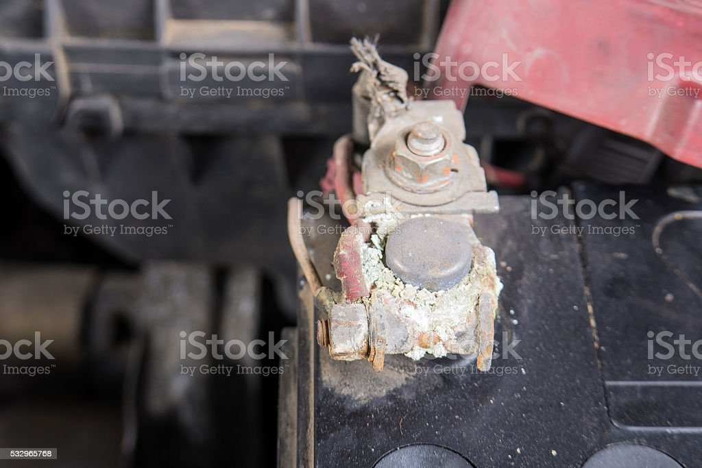 Car battery corrosion on terminal,Dirty battery terminals. stock photo