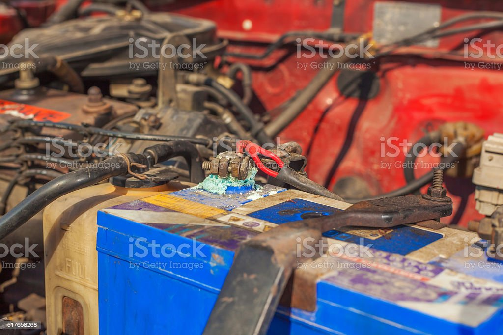 Car battery corrosion on the terminal stock photo