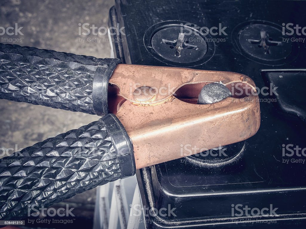 Car battery jumper cable stock photo