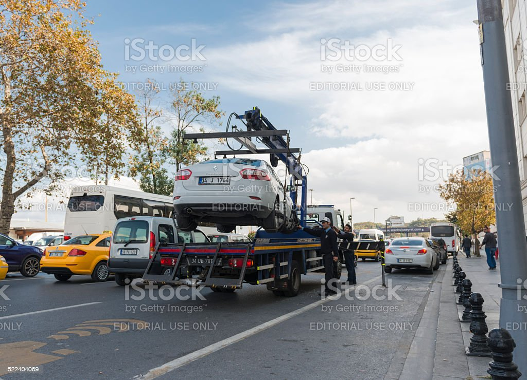 Car being towed away in Eminonu Istanbul stock photo