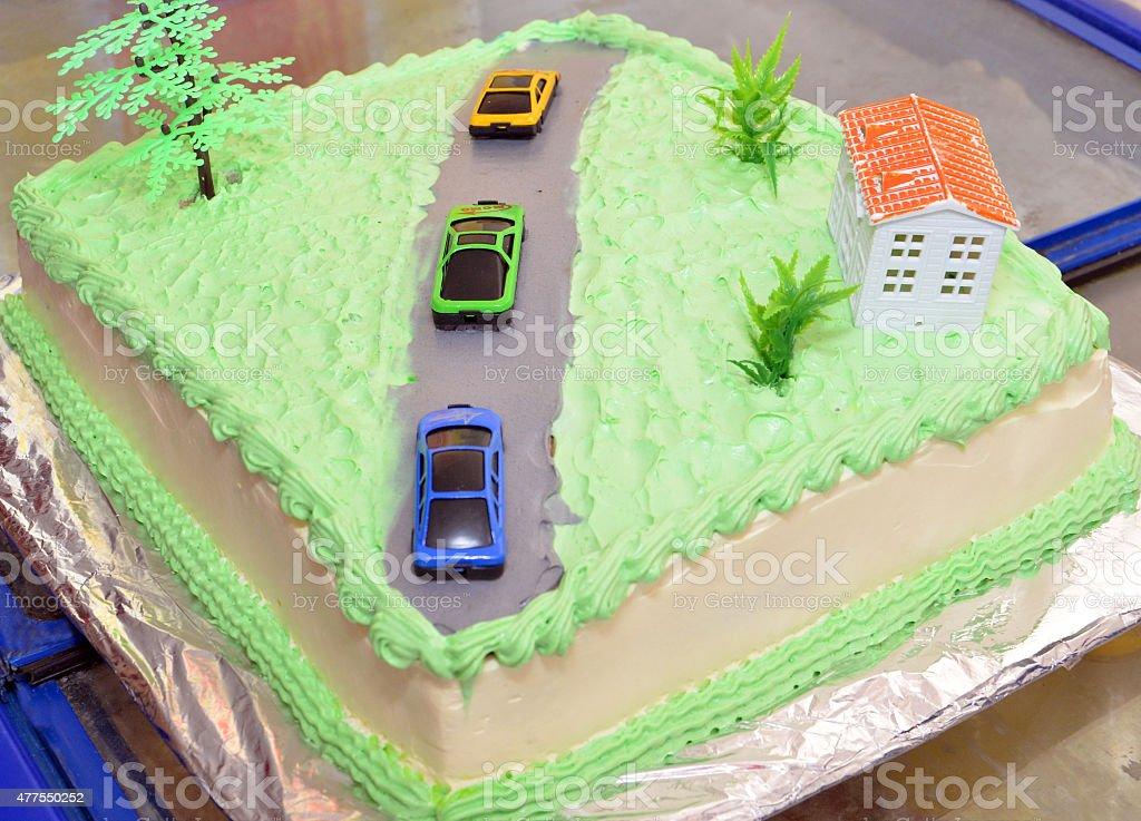 Car birthday cake stock photo