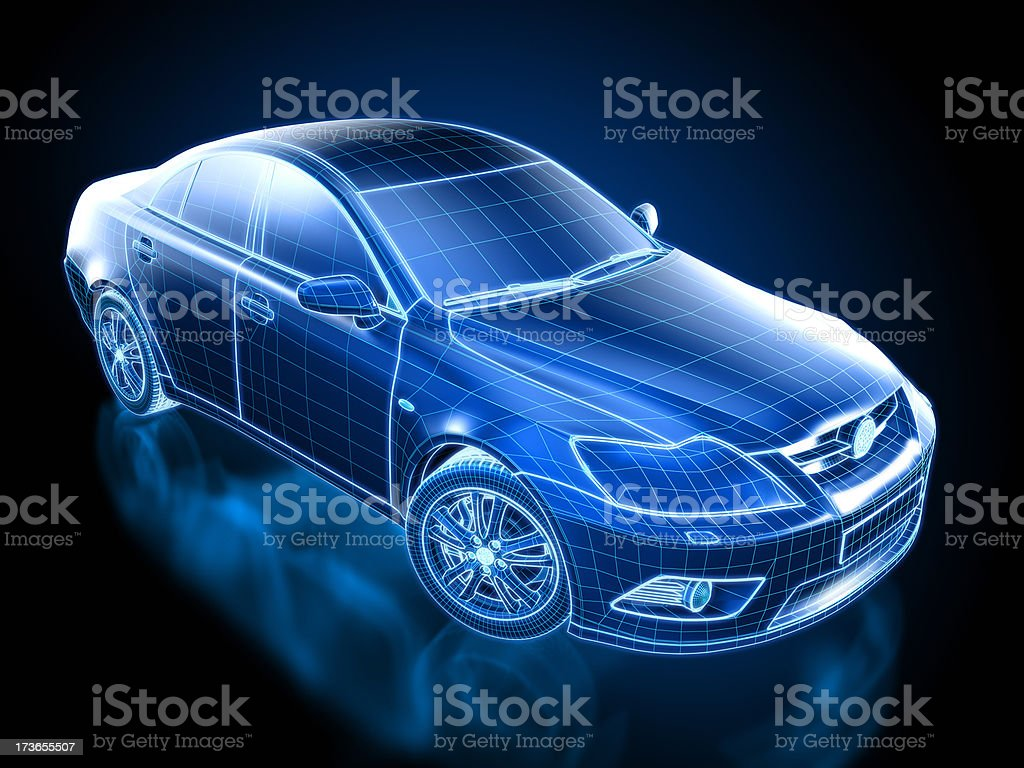 Car Blueprint / wireframe - with clipping path stock photo