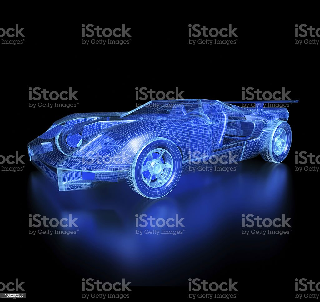Car Blueprint-with clipping path stock photo