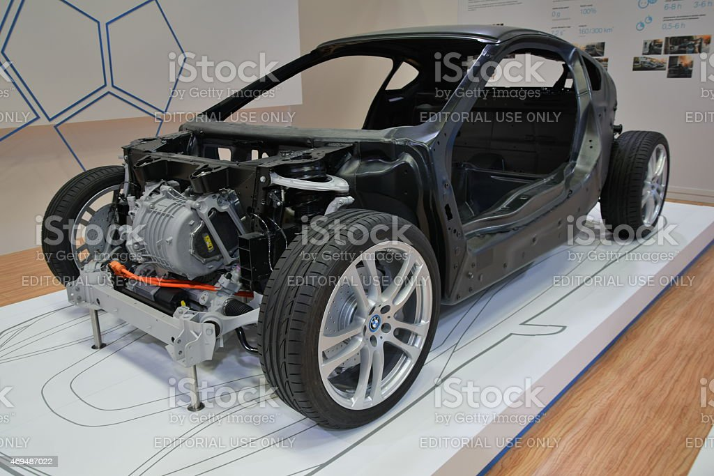 Car body with carbon fiber on the motor show stock photo