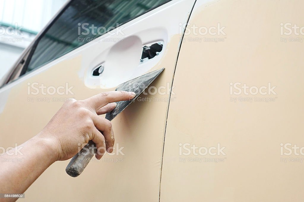 Car body work auto repair paint after the accident during stock photo