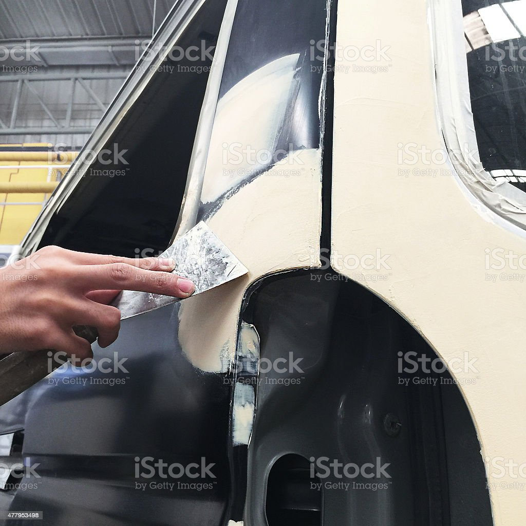 Car body work auto Repair paint after the accident stock photo
