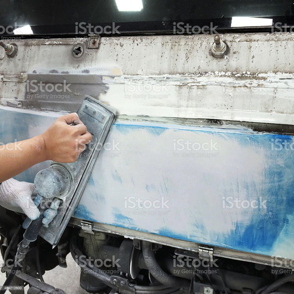 Car body work auto repair paint after the accident. stock photo