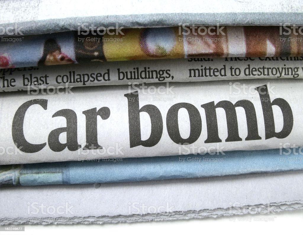 Car Bomb Headline stock photo
