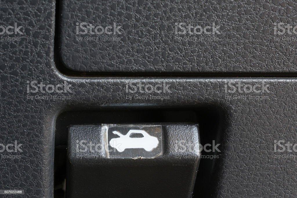 car bonnet release stock photo
