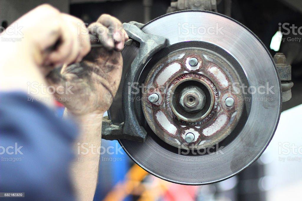 Car braking system repair stock photo